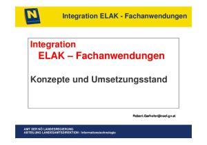 Integration ELAK Fachanwendungen. Konzepte und Umsetzungsstand