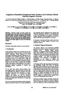 Integration of Renewable Energies and Power Quality in the University of Seville Electrical Engineer Curricula