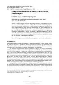 Integration of surface science, nanoscience, and catalysis*