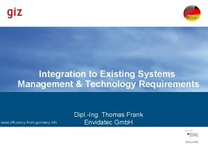 Integration to Existing Systems Management & Technology Requirements