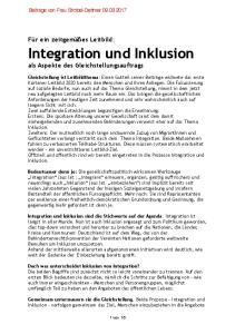 Integration und Inklusion als Aspekte des Gleichstellungsauftrags