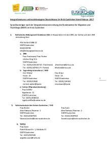 Integrationskurse und berufsbezogene Deutschkurse im Kreis Euskirchen Stand Februar 2017