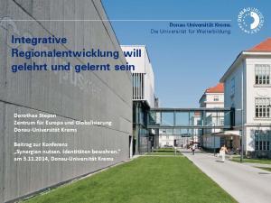 Integrative Regionalentwicklung will gelehrt und gelernt sein