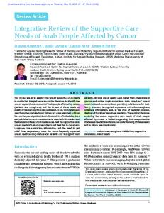 Integrative Review of the Supportive Care Needs of Arab People Affected by Cancer