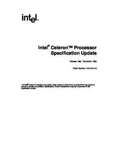 Intel Celeron Processor Specification Update