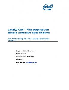 Intel Cilk Plus Application Binary Interface Specification