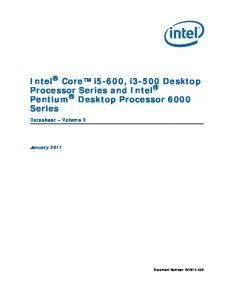 Intel Core i5-600, i3-500 Desktop Processor Series and Intel Pentium Desktop Processor 6000 Series