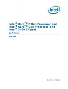 Intel Core TM 2 Duo Processor and Intel Core TM Duo Processor and Intel 3100 Chipset
