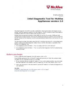 Intel Diagnostic Tool for McAfee Appliances version 2.0