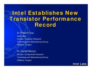 Intel Establishes New Transistor Performance Record