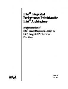 Intel Integrated Performance Primitives for Intel Architecture