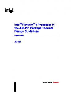 Intel Pentium 4 Processor in the 478-Pin Package Thermal Design Guidelines