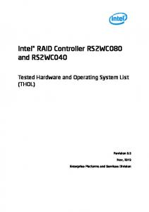 Intel RAID Controller RS2WC080 and RS2WC040