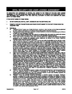 INTEL SECURITY END USER LICENSE AGREEMENT
