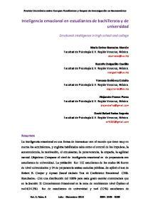Inteligencia emocional en estudiantes de bachillerato y de universidad