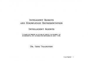 Inteligent Robots and Knowledge Representation. Intelligent Agents