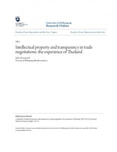 Intellectual property and transparency in trade negotiations: the experience of Thailand