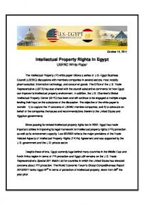 Intellectual Property Rights in Egypt