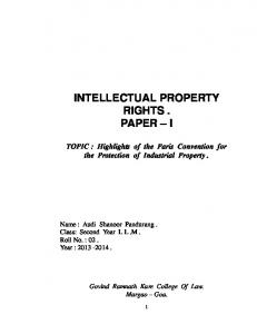 INTELLECTUAL PROPERTY RIGHTS. PAPER I