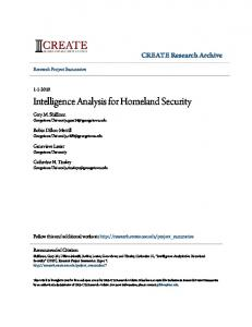 Intelligence Analysis for Homeland Security