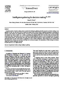 Intelligence gathering for decision making,