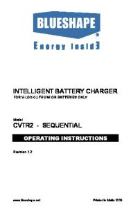 INTELLIGENT BATTERY CHARGER FOR V-LOCK LITHIUM ION BATTERIES ONLY