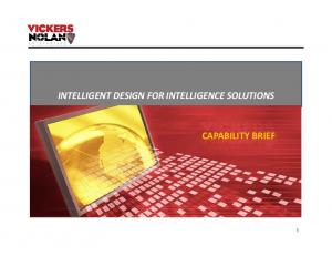 INTELLIGENT DESIGN FOR INTELLIGENCE SOLUTIONS CAPABILITY BRIEF