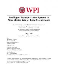 Intelligent Transportation Systems in New Mexico Winter Road Maintenance