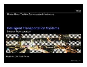 Intelligent Transportation Systems Smarter Transportation
