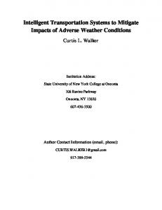 Intelligent Transportation Systems to Mitigate Impacts of Adverse Weather Conditions