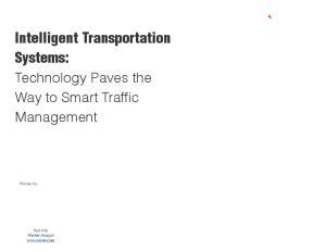 Intelligent Transportation Systems: