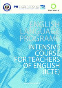 INTENSIVE COURSE FOR TEACHERS OF ENGLISH (ICTE)