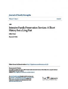Intensive Family Preservation Services: A Short History but a Long Past
