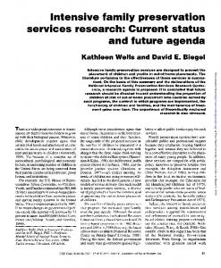 Intensive family preservation services research: Current status and future agenda
