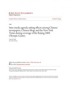 Inter-media agenda-setting effects among Chinese newspapers, Chinese blogs and the New York Times during coverage of the Beijing 2008 Olympic Games