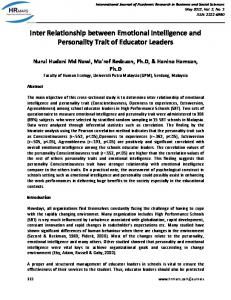 Inter Relationship between Emotional Intelligence and Personality Trait of Educator Leaders