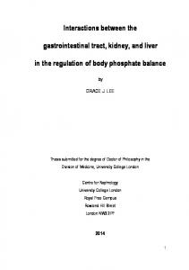 Interactions between the. gastrointestinal tract, kidney, and liver