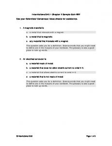 InterActions Unit 1 Chapter 2 Sample Quiz KEY