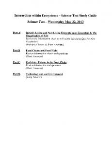 Interactions within Ecosystems Science Science Test. Wednesday. May 22g Part A-