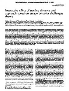 Interactive effect of starting distance and approach speed on escape behavior challenges theory