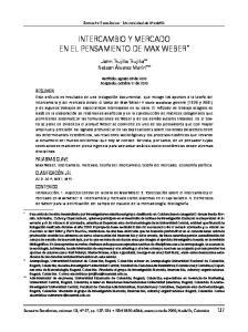 INTERCAMBIO Y MERCADO EN EL PENSAMIENTO DE MAX WEBER *