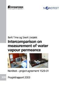 Intercomparison on measurement of water vapour permeance