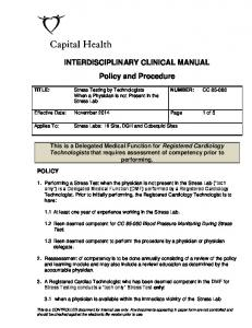 INTERDISCIPLINARY CLINICAL MANUAL Policy and Procedure