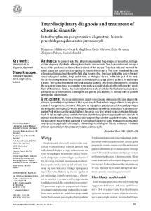 Interdisciplinary diagnosis and treatment of chronic sinusitis