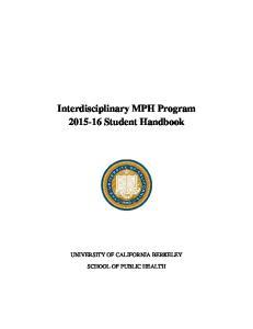 Interdisciplinary MPH Program Student Handbook