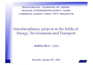 Interdisciplinary projects in the fields of Energy, Environment and Transport