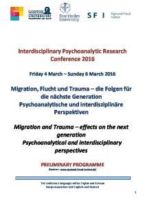 Interdisciplinary Psychoanalytic Research Conference 2016