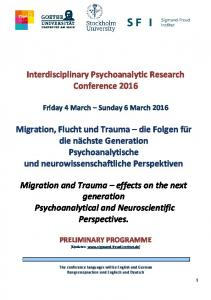Interdisciplinary Psychoanalytic Research Conference 2016