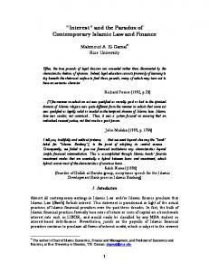 Interest and the Paradox of Contemporary Islamic Law and Finance