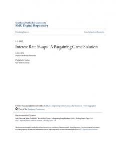 Interest Rate Swaps : A Bargaining Game Solution